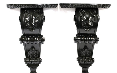 CARVED WOODEN ACANTHUS LEAF AND SCROLL CORBELS