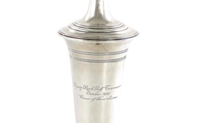 American silver trophy vase with associated lid, Tiffany & Co
