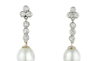A Pair of Cultured Pearl and Diamond Drop Earrings