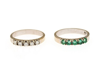 Two rings respectivery set with five brilliant-cut diamonds and five circular-cut emeralds, mounted in 14k gold. Size 54.