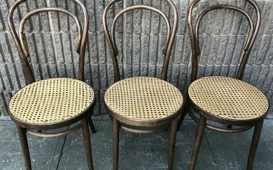 3 20th C. Thonet Style Bent Wood Caned Side Chairs