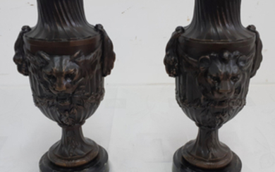 PAIR OF FRENCH PATINATED METAL URNS