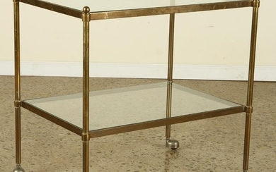 LARGE BRONZE GLASS TWO TIER END TABLE C.1970