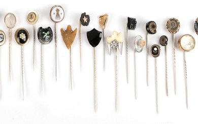 Twenty-Three Stick Pins; including a harpsichord example; two ammonite examples,...