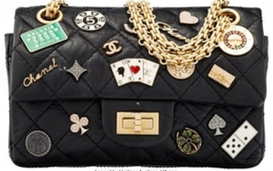 16049: Chanel Black Lambskin Leather Lucky Charms Casin