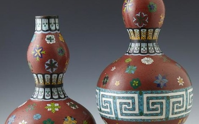 Pair of Chinese Cloisonne Bottle Form Vases, 20th c.,