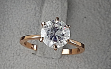 AIG 1.88 carat Round treated Diamond Solitaire Engagement Ring in Solid Pink Gold 14K - size 7,5