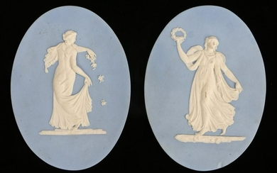 Pair of 19th Century Wedgwood jasperware oval panels,