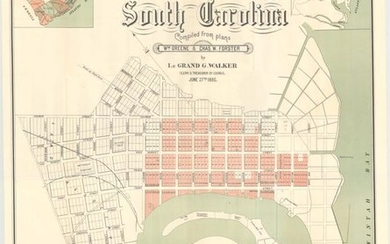 """""""[Lot of 2] Plan of Georgetown South Carolina Compiled from Plans Wm. Greene & Chas. W. Forster [and] U.S. River and Harbor Works Map of Parts of N. and S.C. Showing Rivers and Harbors Under Process of Improvement..."""", U.S. Government"""