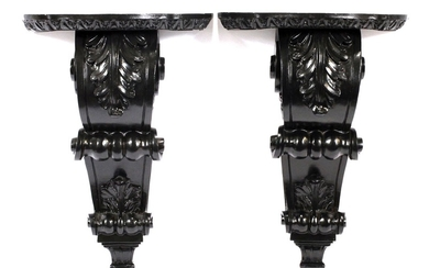 CARVED WOODEN ACANTHUS LEAF AND SCROLL CORBELS PAIR 15 11 5.5