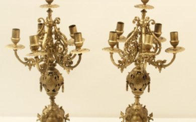 "PAIR OF RETICULATED REGENCY STYLE 6 LIGHT CANDELABRA; 22""H"