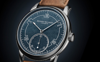 AKRIVIA CHRONOMÈTRE CONTEMPORAIN ONLY WATCH Manual winding movement with hours, minutes, seconds chronometer featuring hacking seconds, automatic zero reset. 100/h power reserve for one barrel.,