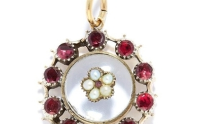 ANTIQUE GARNET, PEARL AND ROCK CRYSTAL PENDANT in high