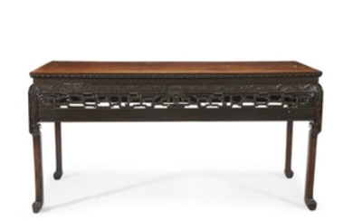 A Chinese carved hardwood recessed-waist painting table The rectangular...
