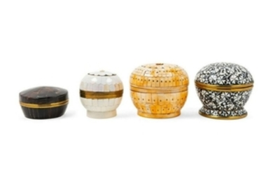Four Decorative Boxes each of circular form.