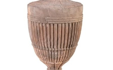 A GEORGIAN CARVED STRIPPED PINE NEO CLASSICAL URN,…