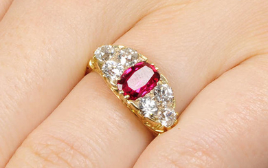 A late Victorian 18ct gold red spinel and old-cut diamond ring.