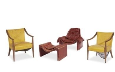A pair of mid-century modern armchairs and a lounge...