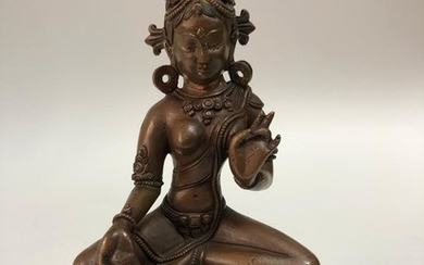 A Pala Revival Style Copper Alloy Figurine of Green Tara