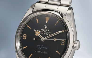 "Rolex, Ref. 5500 inside case back stamped IV.62 A very attractive and incredibly rare stainless steel wristwatch with bracelet and ""double Swiss exclamation mark"" dial"