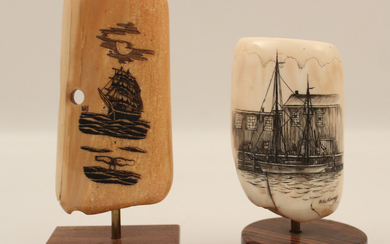2 SIGNED PIECES OF SCRIMSHAW