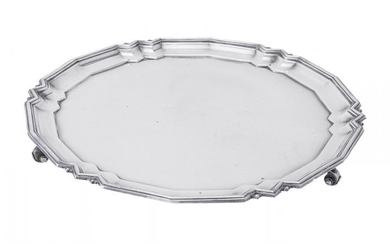 A silver shaped circular salver by C. J. Vander Ltd