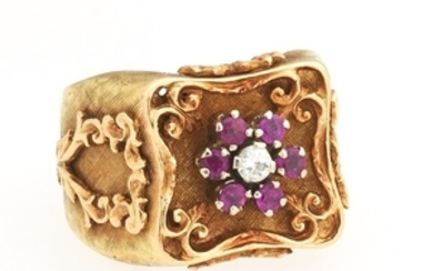 Ladies' Retro Gold, Diamond and Ruby Ring