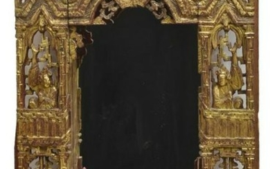 HAND CARVED GILTWOOD HANGING CURIO CABINET