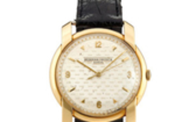 Vacheron Constantin. A Rare Large Yellow Gold Centre Seconds Wristwatch with Chequered Textured Dial