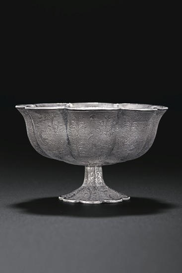 A VERY FINE PETAL-LOBED SILVER STEM CUP, TANG DYNASTY (AD 618-907)