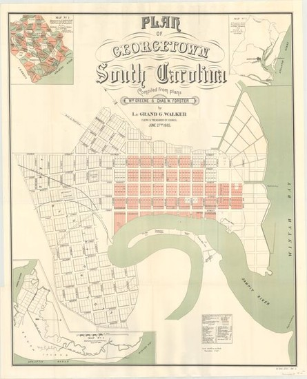 """[Lot of 2] Plan of Georgetown South Carolina Compiled from Plans Wm. Greene & Chas. W. Forster [and] U.S. River and Harbor Works Map of Parts of N. and S.C. Showing Rivers and Harbors Under Process of Improvement..."", U.S. Government"