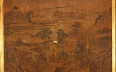 CHINESE PAINTING ON SILK MOUNTED BOARD