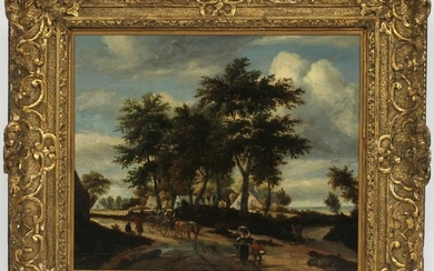 ATTRIBUTED TO MEINDERT HOBBEMA OIL ON WOOD PANEL
