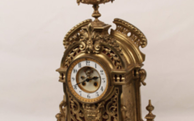 19TH C.FRENCH GILT BRONZE REGENCY STYLE MANTLE CLOCK