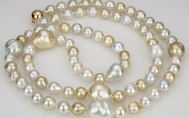 All Natural Gold and White 9mm-16mm South Sea Pearl Necklace