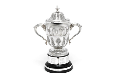 A large Edwardian silver trophy cup and cover