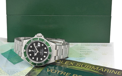 ROLEX. A RARE STAINLESS STEEL AUTOMATIC WRISTWATCH WITH SWEEP CENTRE SECONDS, DATE, BRACELET, ORIGINAL GUARANTEE AND BOX, SIGNED ROLEX, OYSTER PERPETUAL DATE, SUBMARINER, 1000FT = 300M, REF. 16610LV, CASE NO. D082973, CIRCA 2005