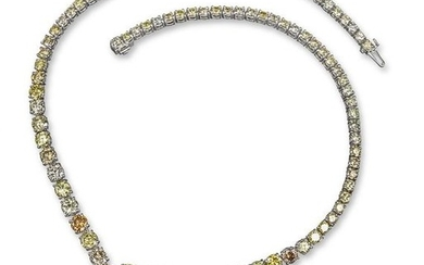 A fancy coloured diamond necklace, set with gradua…