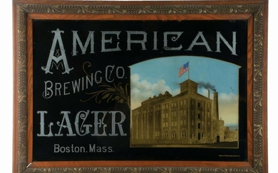 AMERICAN BREWING COMPANY LAGER REVERSE GLASS