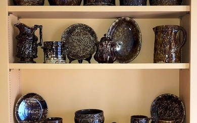 Collection of 23 Pieces of 19th Century Brown Bennington Ware