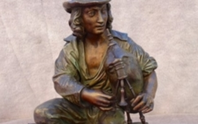 SIGNED FRENCH BRONZE FIGURE OF MAN W/BAGPIPE