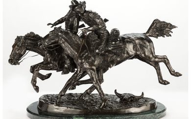A Reproduction Bronze of The Wounded Bunkie After Frederick Remington