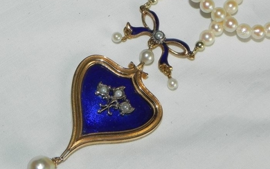 """15 kt. Gold - Necklace gold """"heart"""" genuine natural pearl necklace Pearl"""
