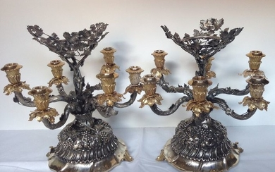Pair of Buccellati style Candelabra - .925 silver - Italy - mid 20th century