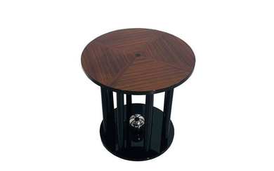 Art Deco side table with pillars foot and cherry wood