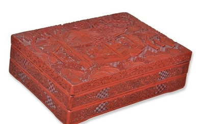 CARVED CINNABAR LACQUER DOUBLE TRAY BOX
