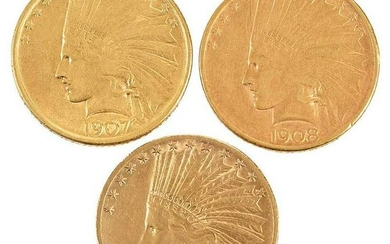 Group of Three, Ten Dollar Gold Coins