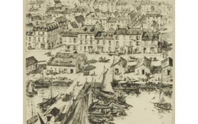 """MORRIS HENRY HOBBS (american, 1892–1967) """"BRITTANY SEAPORT"""" Pencil signed..."""