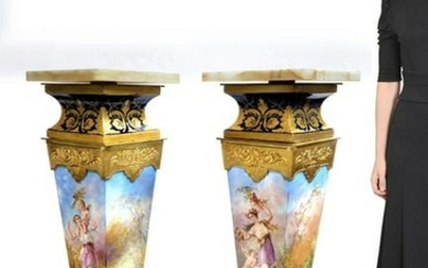 19th C. Museum Quality Pair of French Sevres Pedestals