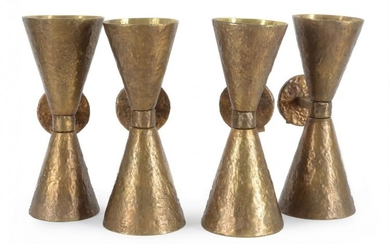 Diego Giacometti (manner of), a set of four bronze wall lights